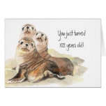"Fun 102nd Birthday ""Don't grow up "" Cute Seals Greeting Card"