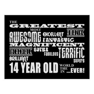 Fun 14th Birthday Party Greatest Fourteen Year Old Posters