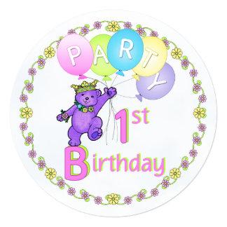 Fun 1st Birthday Purple Princess Bear Card