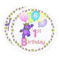 Fun 1st Birthday Purple Princess Bear Invitations