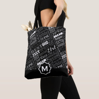 Fun 21st Birthday Party Personalized Monogram Tote Bag