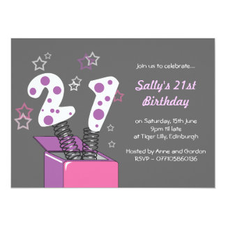 Fun 21st Birthday Party - pink & purple Card