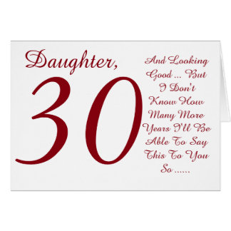 Fun, 30th birthday, daughter, red and white text. card