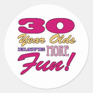 Fun 30th Birthday Stickers