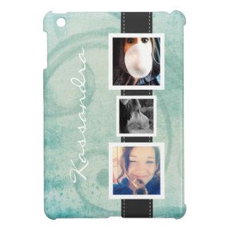 Fun 3 Photo and Personalized Name Aqua Girly iPad Mini Case