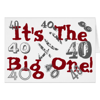 Fun, 40th birthday, lots of 40s', gray, red, white card
