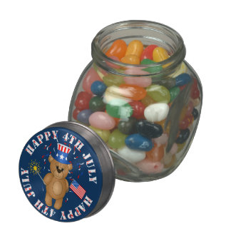 Fun 4th July Independence Day Cute Teddy Bear Jelly Belly Candy Jars