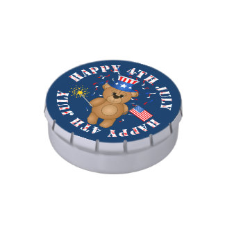 Fun 4th July Independence Day Cute Teddy Bear Candy Tin