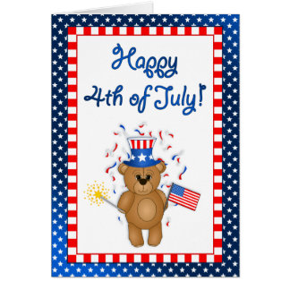 Fun 4th July Independence Day Cute Teddy Bear Cards