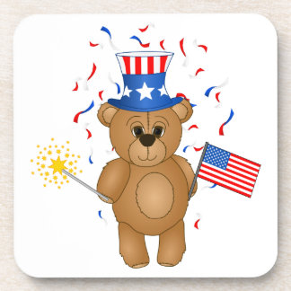 Fun 4th July Independence Day Cute Teddy Bear Beverage Coasters