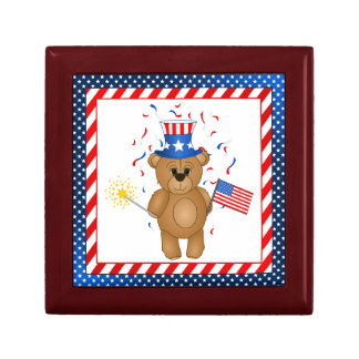 Fun 4th July Independence Day Cute Teddy Bear Trinket Boxes