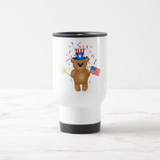 Fun 4th July Independence Day Cute Teddy Bear 15 Oz Stainless Steel Travel Mug