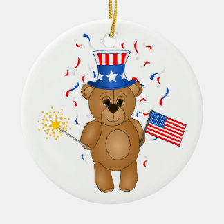 Fun 4th July Independence Day Cute Teddy Bear Double-Sided Ceramic Round Christmas Ornament
