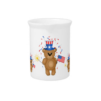 Fun 4th July Independence Day Cute Teddy Bear Pitcher