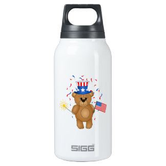 Fun 4th July Independence Day Cute Teddy Bear 10 Oz Insulated SIGG Thermos Water Bottle