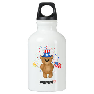 Fun 4th July Independence Day Cute Teddy Bear SIGG Traveler 0.3L Water Bottle