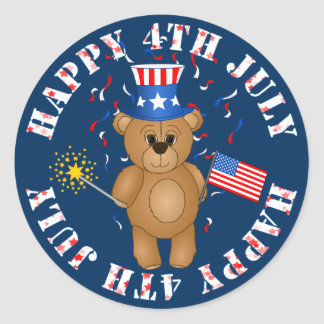 Fun 4th July Independence Day Cute Teddy Bear Classic Round Sticker