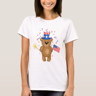 Fun 4th July Independence Day Cute Teddy Bear T-Shirt