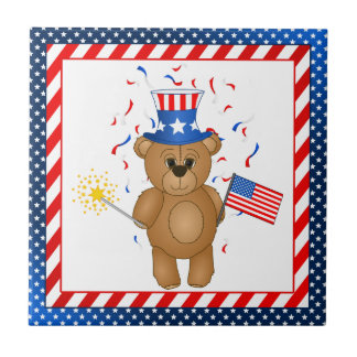 Fun 4th July Independence Day Cute Teddy Bear Tile