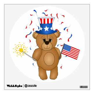 Fun 4th July Independence Day Cute Teddy Bear Wall Sticker
