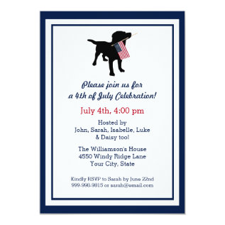 Fun 4th Of July Black Lab With Usa American Flag Card at Zazzle