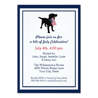 Fun 4th of July Black Lab with USA American Flag Card