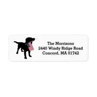 Fun 4th Of July Black Lab With Usa American Flag Label at Zazzle