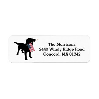 Fun 4th of July Black Lab with USA American Flag Label