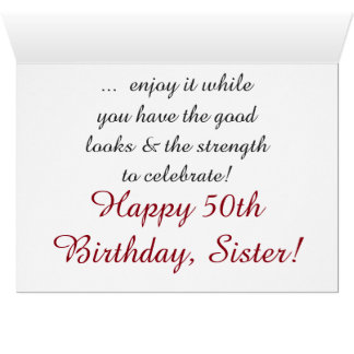 Fun, 50th birthday for sister, red and white text. card