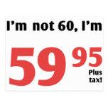 Fun 60th Birthday Plus Tax Postcard
