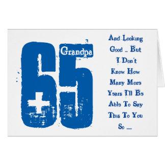Fun, 65th birthday, grandpa, blue and white text. card