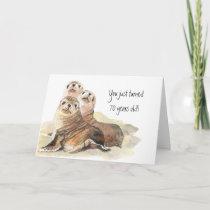 """Fun 70th Birthday """"Don't grow up """" Cute Seals Card"""