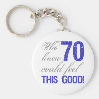 Fun 70th Birthday Keychain