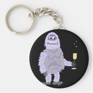 Fun Abominable Snowman Celebrating with Champagne Keychain