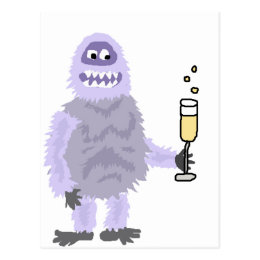 Fun Abominable Snowman Celebrating with Champagne Postcard