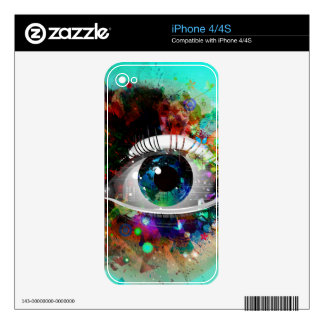 Fun Abstract Art eye design Decal For The iPhone 4
