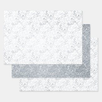 Fun Abstract Silver White Scrolling Curves Pattern Foil Wrapping Paper Sheets