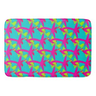 Fun Abstract Teal, Lime and Magenta Bathmat