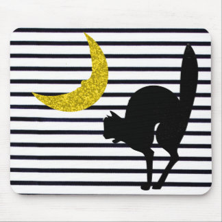 """""""Fun Accents"""" Halloween_Black Cat_Moon Mouse Pad"""
