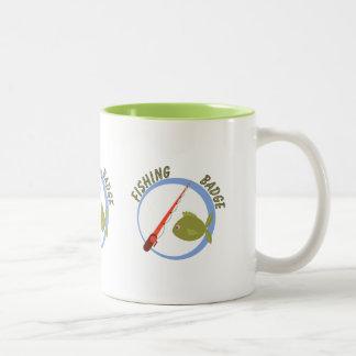 Fun Accomplishment Badge For Fishing Two-Tone Coffee Mug