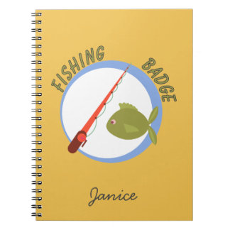 Fun Accomplishment Badge For Fishing Spiral Notebooks