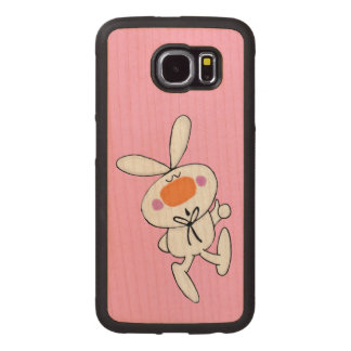 Fun Adorable Prancing White Bunny on Light Pink Wood Phone Case