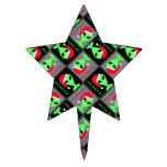 Fun Alien Santa Geek Humor LGM Christmas Pattern Cake Topper