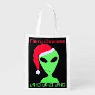 Fun Alien Santa Geek Humor ufHO Christmas Gift Bag Grocery Bag