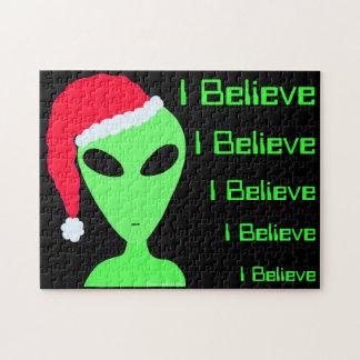 Fun Alien Santa I Believe LGM UFO Christmas Puzzle
