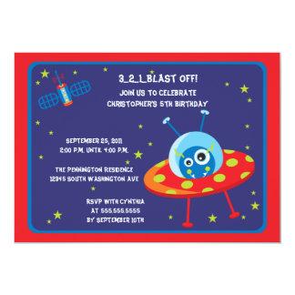 "Fun alien spaceship boys birthday party invite 5"" x 7"" invitation card"