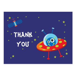 Fun alien ufo spaceship boys thank you postcard