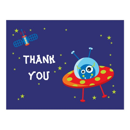 Fun alien ufo spaceship boys thank you postcard