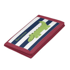 Fun Alligator Kids Trifold Wallet at Zazzle