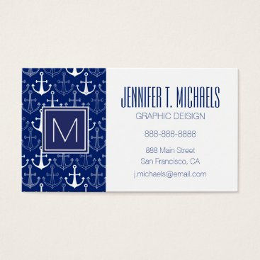 Beach Themed Fun Anchor Pattern Business Card